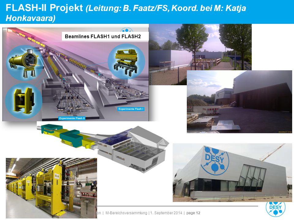 Reinhard Brinkmann | Director Accelerator Division | M-Bereichsversammlung | 1. September 2014 | page 12 FLASH-II Projekt (Leitung: B. Faatz/FS, Koord