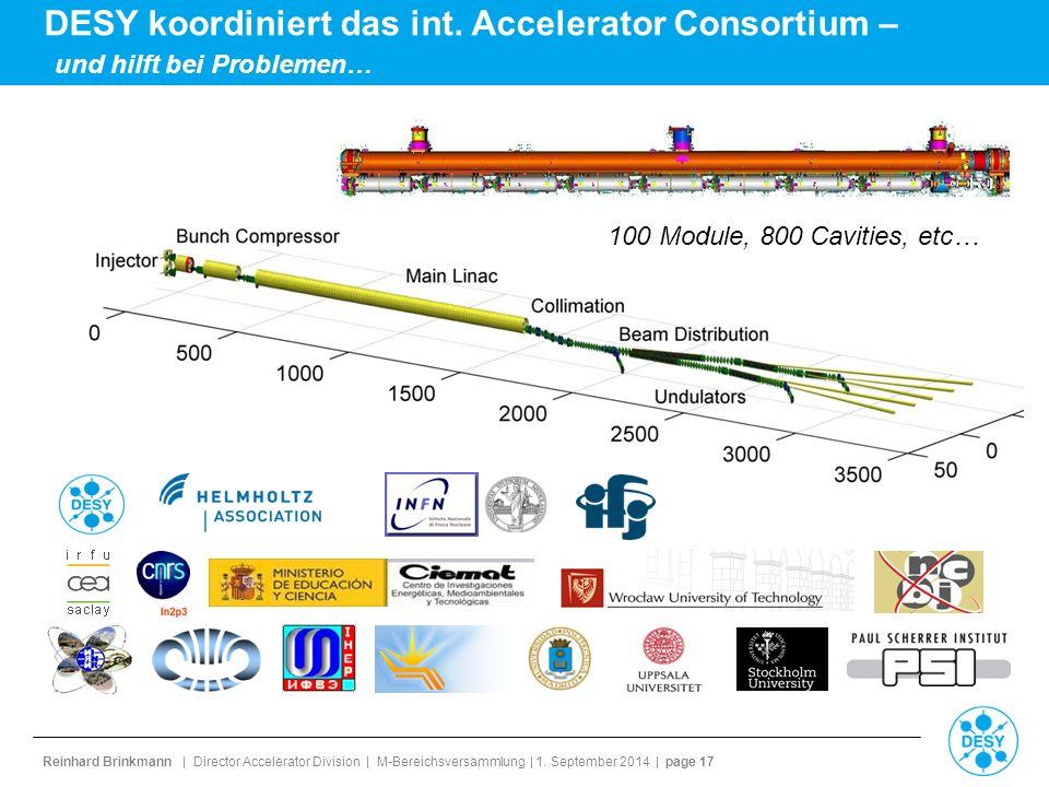 Reinhard Brinkmann | Director Accelerator Division | M-Bereichsversammlung | 1. September 2014 | page 17 DESY koordiniert das int. Accelerator Consort