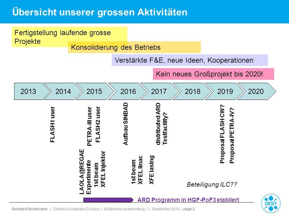 Reinhard Brinkmann | Director Accelerator Division | M-Bereichsversammlung | 1. September 2014 | page 2 Übersicht unserer grossen Aktivitäten 20132014