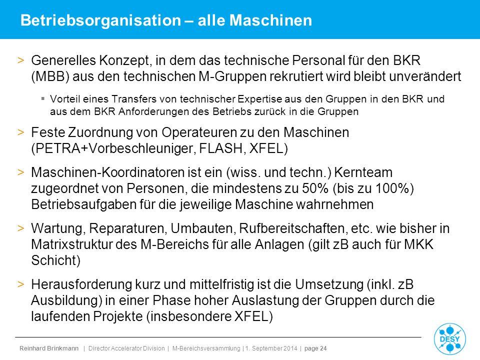 Reinhard Brinkmann | Director Accelerator Division | M-Bereichsversammlung | 1. September 2014 | page 24 Betriebsorganisation – alle Maschinen >Genere