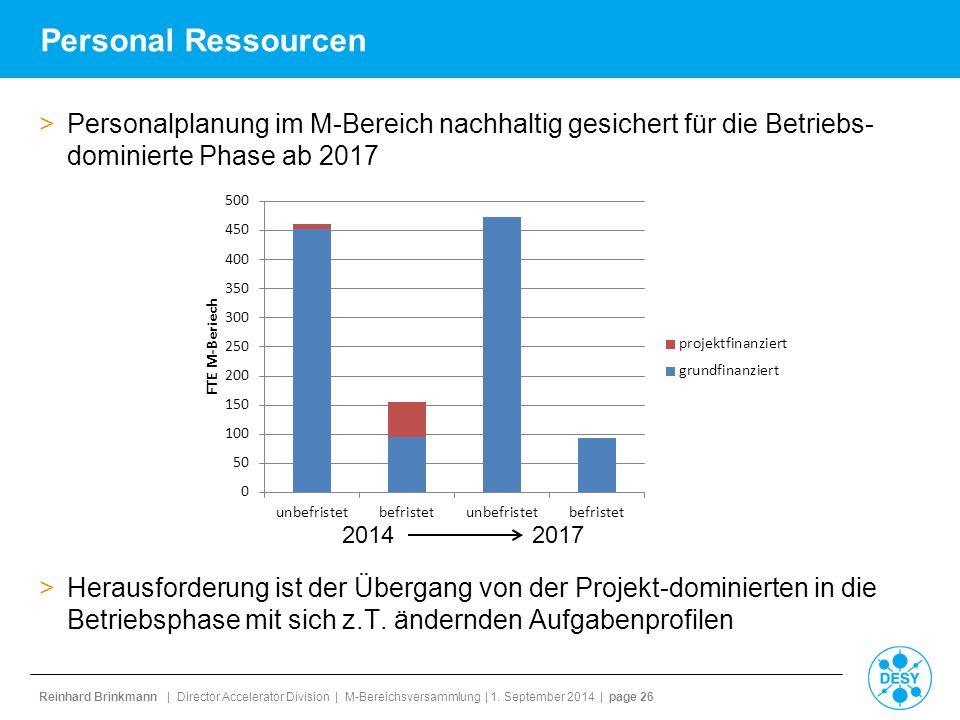 Reinhard Brinkmann | Director Accelerator Division | M-Bereichsversammlung | 1. September 2014 | page 26 Personal Ressourcen >Personalplanung im M-Ber