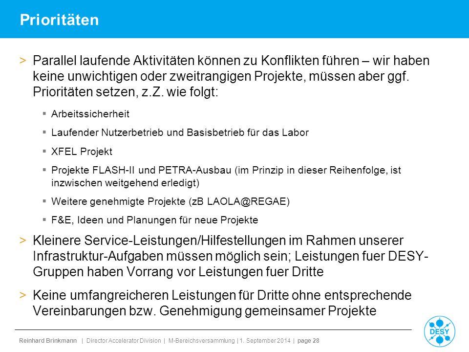 Reinhard Brinkmann | Director Accelerator Division | M-Bereichsversammlung | 1. September 2014 | page 28 Prioritäten >Parallel laufende Aktivitäten kö