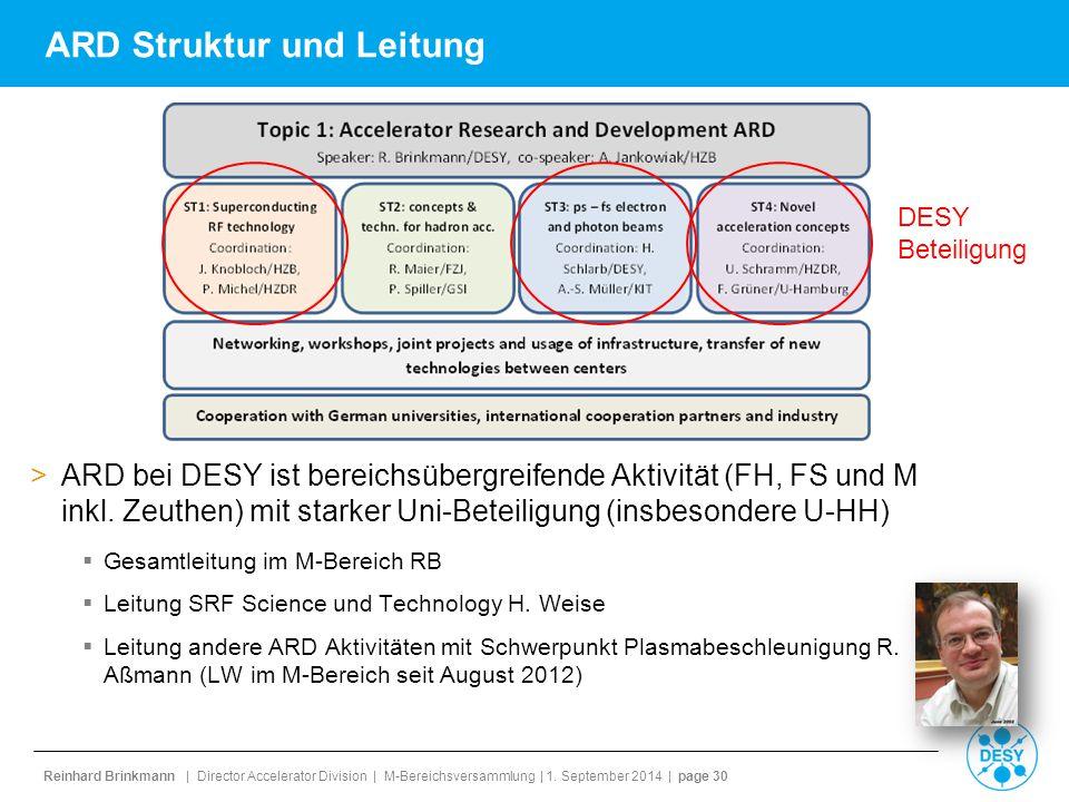 Reinhard Brinkmann | Director Accelerator Division | M-Bereichsversammlung | 1. September 2014 | page 30 ARD Struktur und Leitung >ARD bei DESY ist be