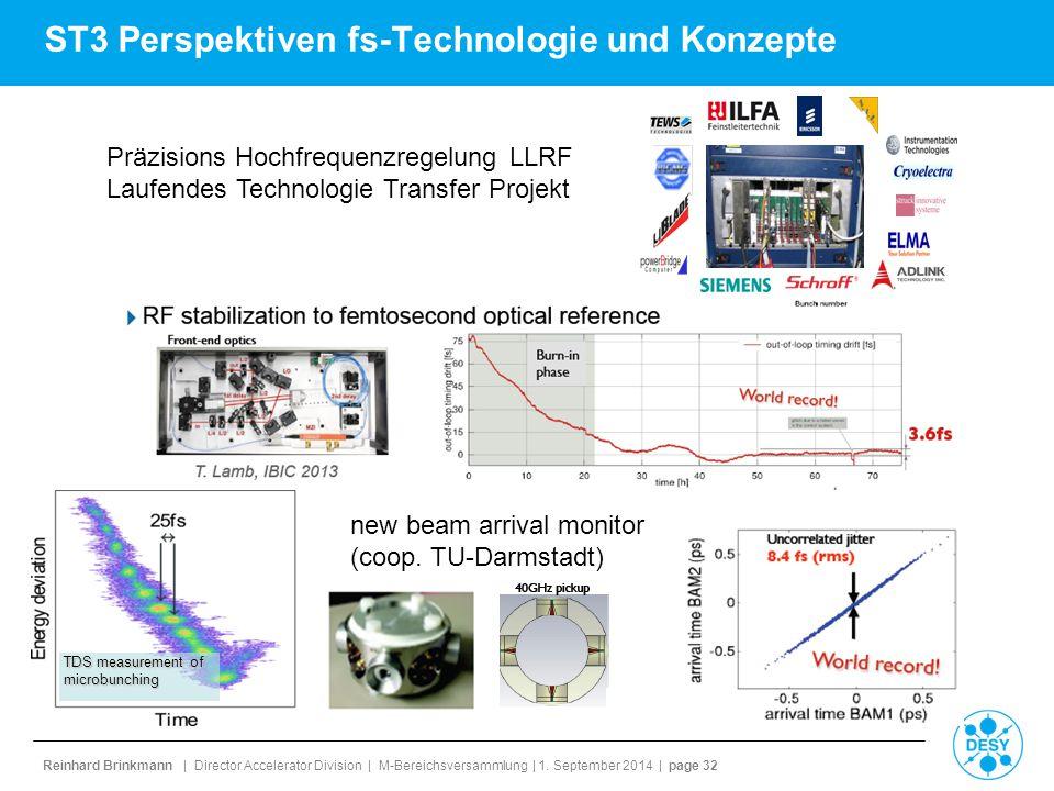 Reinhard Brinkmann | Director Accelerator Division | M-Bereichsversammlung | 1. September 2014 | page 32 ST3 Perspektiven fs-Technologie und Konzepte