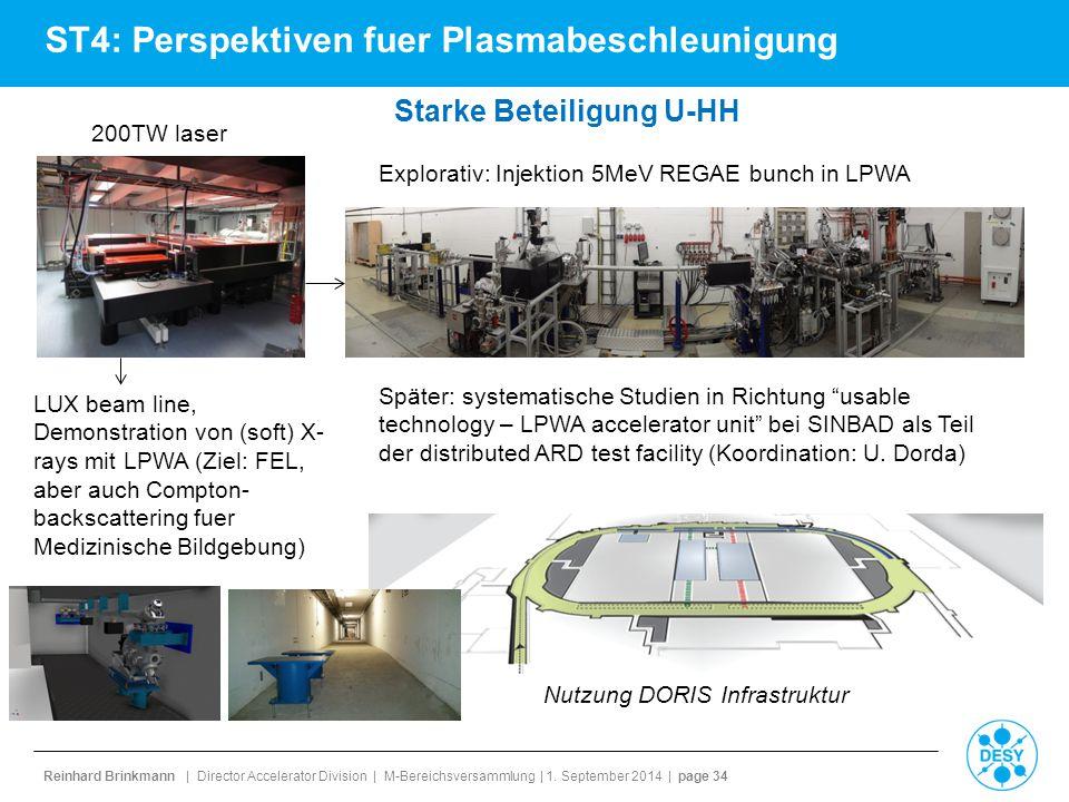 Reinhard Brinkmann | Director Accelerator Division | M-Bereichsversammlung | 1. September 2014 | page 34 ST4: Perspektiven fuer Plasmabeschleunigung 2