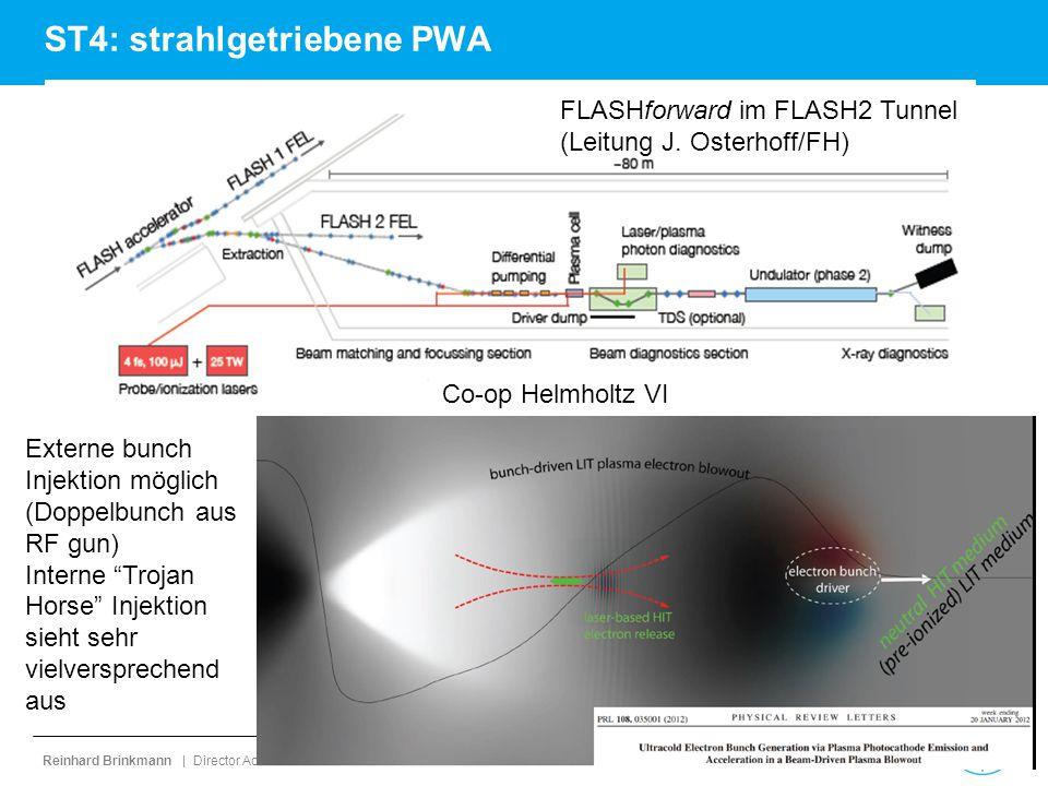 Reinhard Brinkmann | Director Accelerator Division | M-Bereichsversammlung | 1. September 2014 | page 35 ST4: strahlgetriebene PWA FLASHforward im FLA