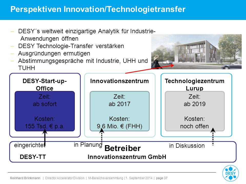 Reinhard Brinkmann | Director Accelerator Division | M-Bereichsversammlung | 1. September 2014 | page 37 Perspektiven Innovation/Technologietransfer 