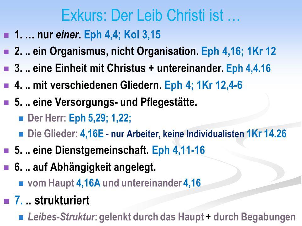 Exkurs: Der Leib Christi ist … 1. … nur einer. Eph 4,4; Kol 3,15 2... ein Organismus, nicht Organisation. Eph 4,16; 1Kr 12 3... eine Einheit mit Chris