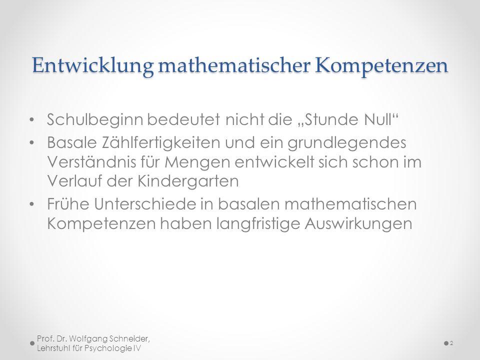"""Entwicklung mathematischer Kompetenzen Schulbeginn bedeutet nicht die """"Stunde Null"""" Basale Zählfertigkeiten und ein grundlegendes Verständnis für Meng"""