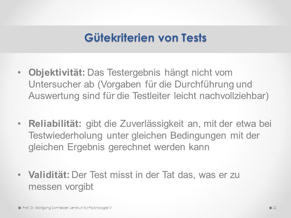 Objektivität: Das Testergebnis hängt nicht vom Untersucher ab (Vorgaben für die Durchführung und Auswertung sind für die Testleiter leicht nachvollzie