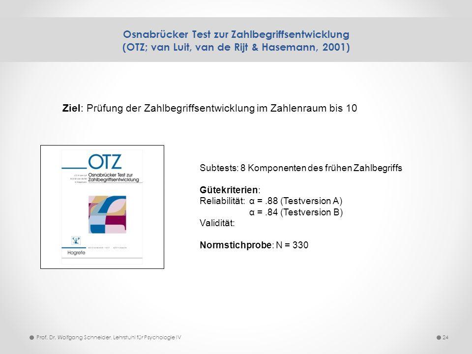 Osnabrücker Test zur Zahlbegriffsentwicklung (OTZ; van Luit, van de Rijt & Hasemann, 2001) 24Prof. Dr. Wolfgang Schneider, Lehrstuhl für Psychologie I