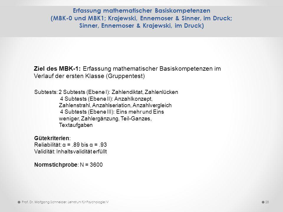 Erfassung mathematischer Basiskompetenzen (MBK-0 und MBK1; Krajewski, Ennemoser & Sinner, im Druck; Sinner, Ennemoser & Krajewski, im Druck) 28 Ziel d