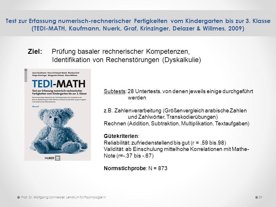 Test zur Erfassung numerisch-rechnerischer Fertigkeiten vom Kindergarten bis zur 3. Klasse (TEDI-MATH, Kaufmann, Nuerk, Graf, Krinzinger, Delazer & Wi