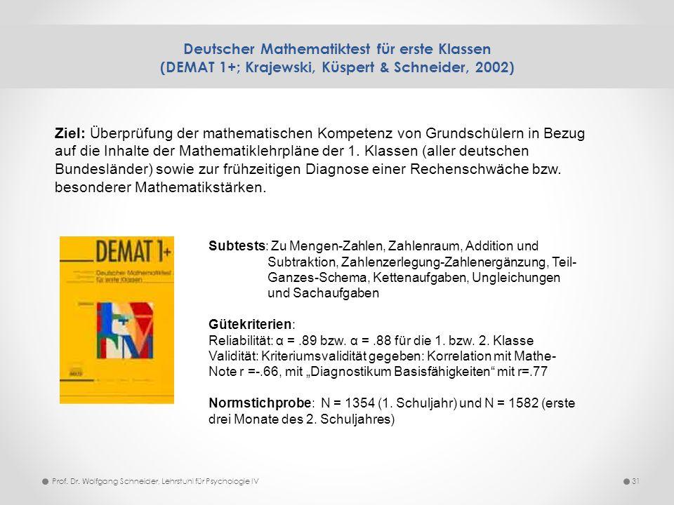 Deutscher Mathematiktest für erste Klassen (DEMAT 1+; Krajewski, Küspert & Schneider, 2002) 31Prof. Dr. Wolfgang Schneider, Lehrstuhl für Psychologie