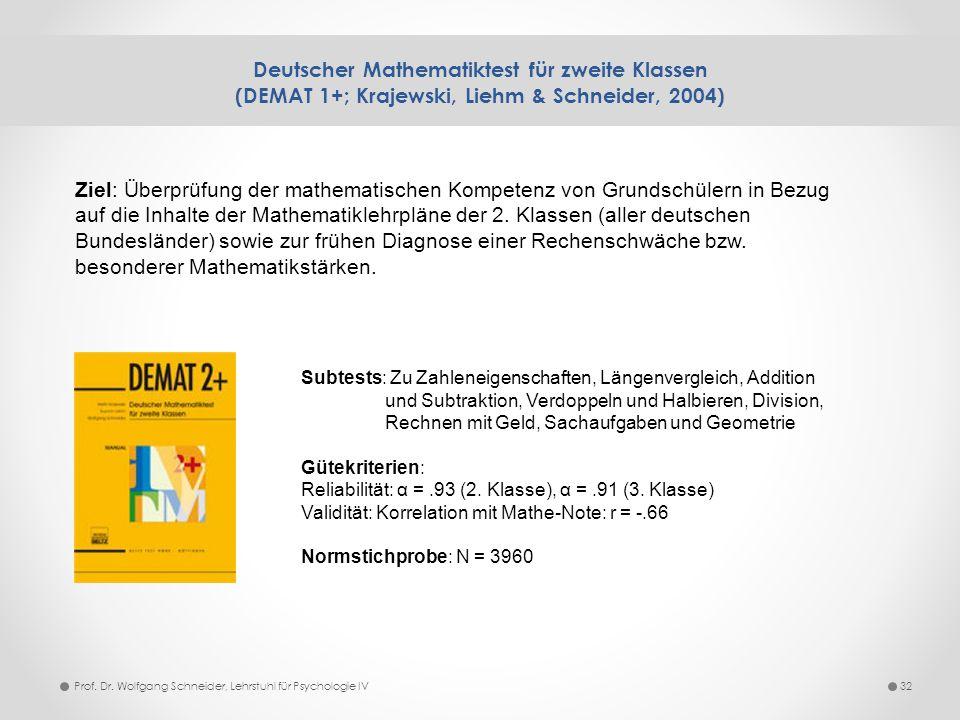 Deutscher Mathematiktest für zweite Klassen (DEMAT 1+; Krajewski, Liehm & Schneider, 2004) 32Prof. Dr. Wolfgang Schneider, Lehrstuhl für Psychologie I