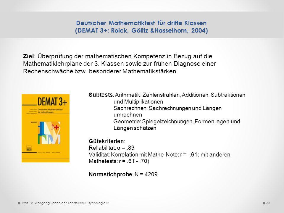 (DEMAT 3+: Roick, Gölitz &Hasselhorn, 2004) Deutscher Mathematiktest für dritte Klassen (DEMAT 3+: Roick, Gölitz &Hasselhorn, 2004) 33Prof. Dr. Wolfga
