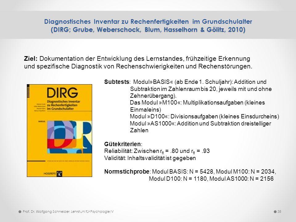 (DIRG; Grube, Weberschock, Blum, Hasselhorn & Gölitz, 2010) Diagnostisches Inventar zu Rechenfertigkeiten im Grundschulalter (DIRG; Grube, Weberschock