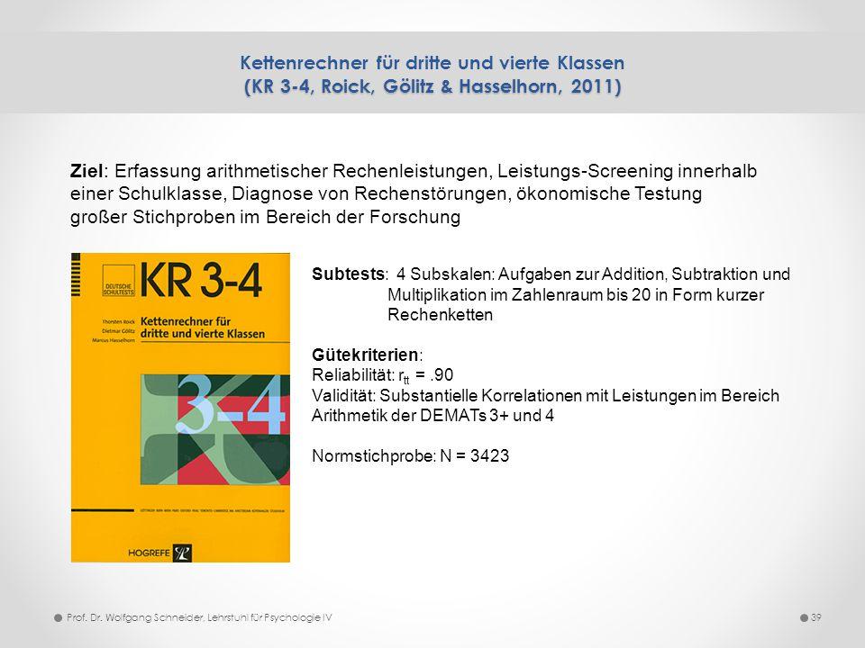 (KR 3-4, Roick, Gölitz & Hasselhorn, 2011) Kettenrechner für dritte und vierte Klassen (KR 3-4, Roick, Gölitz & Hasselhorn, 2011) 39Prof. Dr. Wolfgang