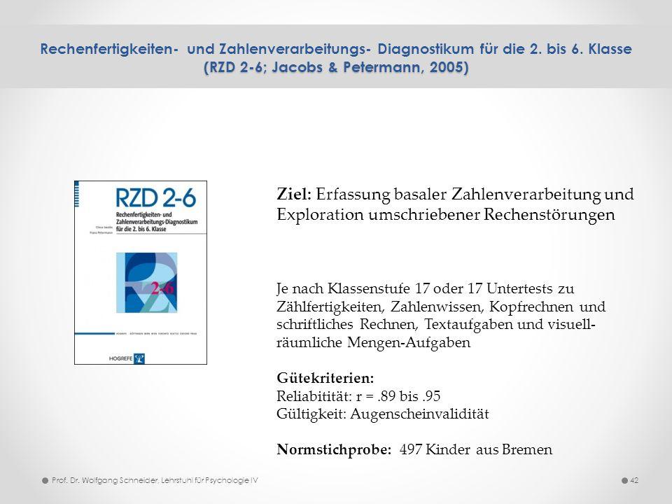 (RZD 2-6; Jacobs & Petermann, 2005) Rechenfertigkeiten- und Zahlenverarbeitungs- Diagnostikum für die 2. bis 6. Klasse (RZD 2-6; Jacobs & Petermann, 2