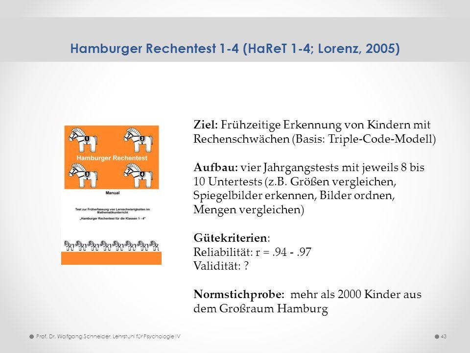 Hamburger Rechentest 1-4 (HaReT 1-4; Lorenz, 2005) 43Prof. Dr. Wolfgang Schneider, Lehrstuhl für Psychologie IV Ziel: Frühzeitige Erkennung von Kinder