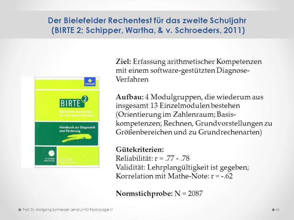 Der Bielefelder Rechentest für das zweite Schuljahr (BIRTE 2; Schipper, Wartha, & v. Schroeders, 2011) 45Prof. Dr. Wolfgang Schneider, Lehrstuhl für P