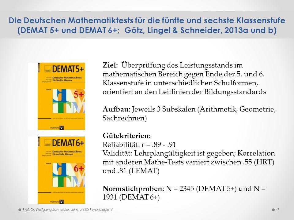 Die Deutschen Mathematiktests für die fünfte und sechste Klassenstufe (DEMAT 5+ und DEMAT 6+; Götz, Lingel & Schneider, 2013a und b) 47Prof. Dr. Wolfg