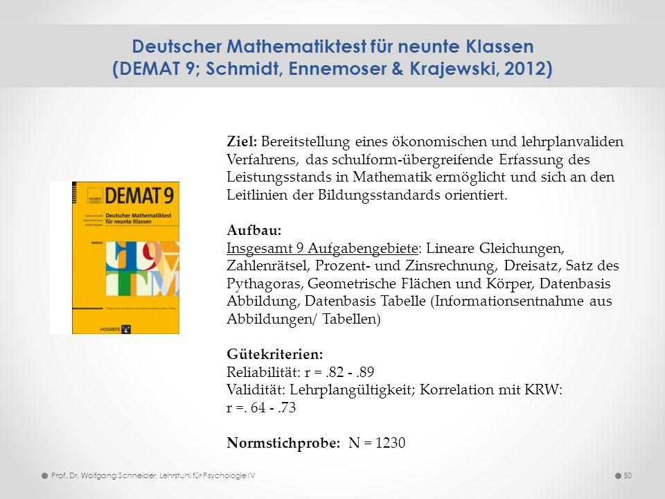 Deutscher Mathematiktest für neunte Klassen (DEMAT 9; Schmidt, Ennemoser & Krajewski, 2012) 50Prof. Dr. Wolfgang Schneider, Lehrstuhl für Psychologie