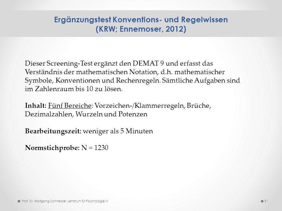 Ergänzungstest Konventions- und Regelwissen (KRW; Ennemoser, 2012) 51 Dieser Screening-Test ergänzt den DEMAT 9 und erfasst das Verständnis der mathem