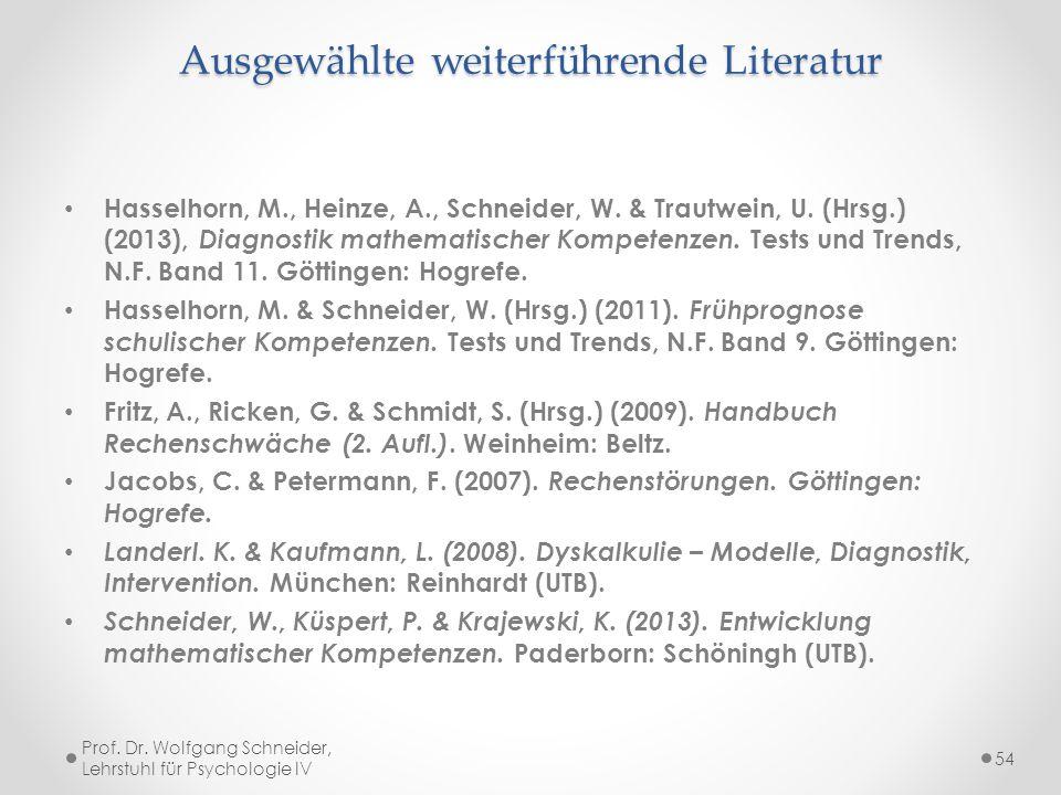 Ausgewählte weiterführende Literatur Hasselhorn, M., Heinze, A., Schneider, W. & Trautwein, U. (Hrsg.) (2013), Diagnostik mathematischer Kompetenzen.