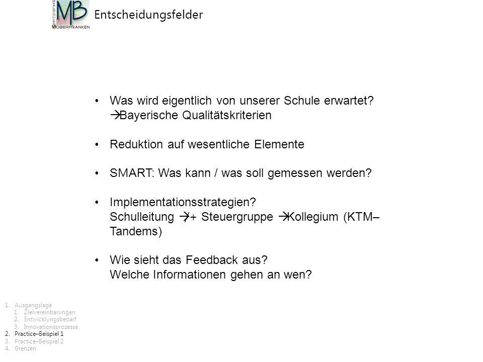 Was wird eigentlich von unserer Schule erwartet?  Bayerische Qualitätskriterien Reduktion auf wesentliche Elemente S M ART: Was kann / was soll gemes