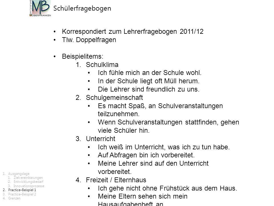 Schülerfragebogen Korrespondiert zum Lehrerfragebogen 2011/12 Tlw. Doppelfragen Beispielitems: 1.Schulklima Ich fühle mich an der Schule wohl. In der