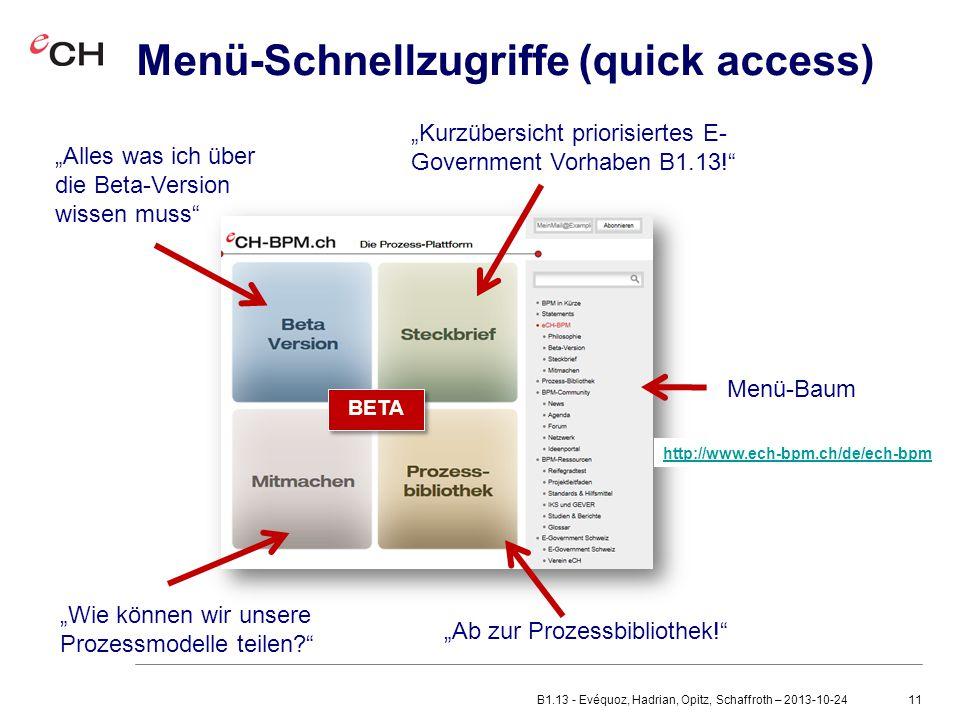 """11 Menü-Schnellzugriffe (quick access) """"Alles was ich über die Beta-Version wissen muss """"Wie können wir unsere Prozessmodelle teilen? """"Ab zur Prozessbibliothek! """"Kurzübersicht priorisiertes E- Government Vorhaben B1.13! Menü-Baum BETA http://www.ech-bpm.ch/de/ech-bpm B1.13 - Evéquoz, Hadrian, Opitz, Schaffroth – 2013-10-24"""
