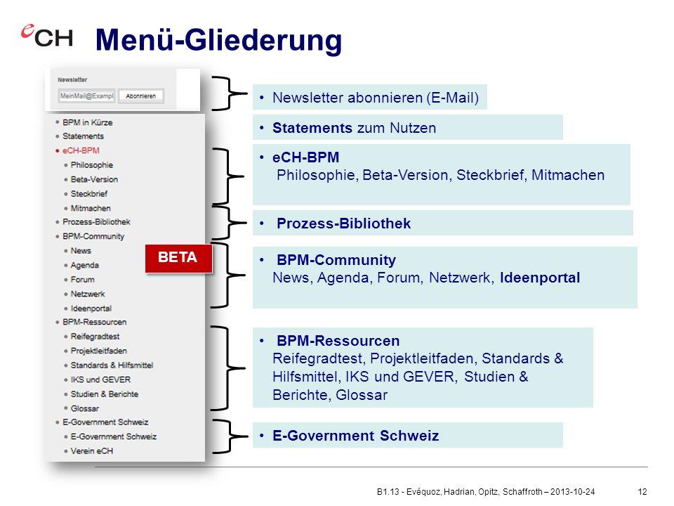 12 Menü-Gliederung eCH-BPM Philosophie, Beta-Version, Steckbrief, Mitmachen Newsletter abonnieren (E-Mail) Prozess-Bibliothek BPM-Ressourcen Reifegradtest, Projektleitfaden, Standards & Hilfsmittel, IKS und GEVER, Studien & Berichte, Glossar E-Government Schweiz BETA BPM-Community News, Agenda, Forum, Netzwerk, Ideenportal Statements zum Nutzen B1.13 - Evéquoz, Hadrian, Opitz, Schaffroth – 2013-10-24