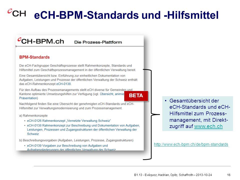 16 eCH-BPM-Standards und -Hilfsmittel Gesamtübersicht der eCH-Standards und eCH- Hilfsmittel zum Prozess- management, mit Direkt- zugriff auf www.ech.chwww.ech.ch BETA http://www.ech-bpm.ch/de/bpm-standards BETA B1.13 - Evéquoz, Hadrian, Opitz, Schaffroth – 2013-10-24