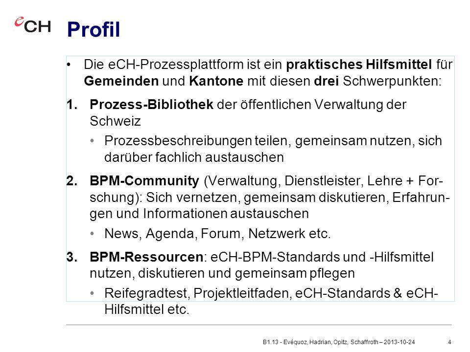4 Profil Die eCH-Prozessplattform ist ein praktisches Hilfsmittel für Gemeinden und Kantone mit diesen drei Schwerpunkten: 1.Prozess-Bibliothek der öffentlichen Verwaltung der Schweiz Prozessbeschreibungen teilen, gemeinsam nutzen, sich darüber fachlich austauschen 2.BPM-Community (Verwaltung, Dienstleister, Lehre + For- schung): Sich vernetzen, gemeinsam diskutieren, Erfahrun- gen und Informationen austauschen News, Agenda, Forum, Netzwerk etc.