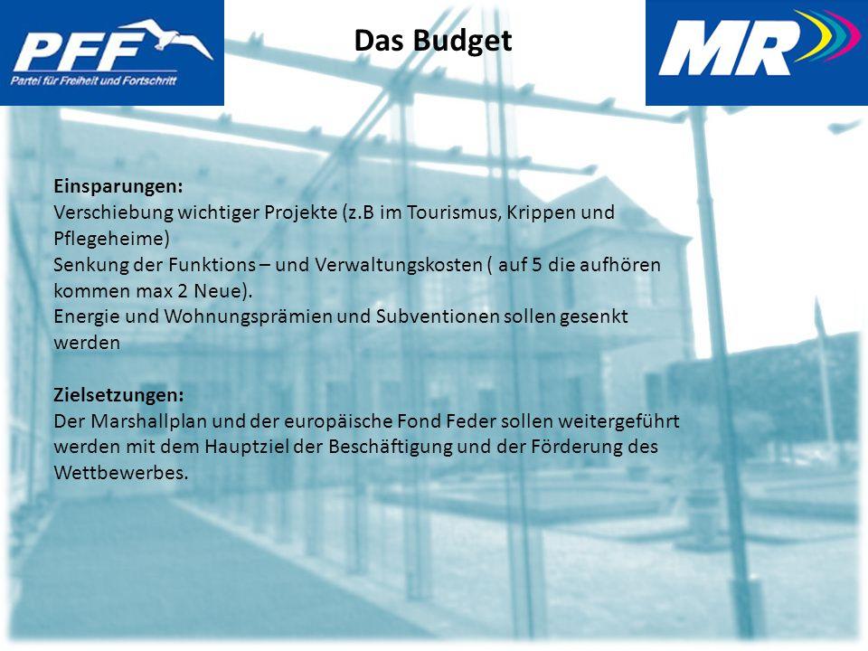 Das Budget Einsparungen: Verschiebung wichtiger Projekte (z.B im Tourismus, Krippen und Pflegeheime) Senkung der Funktions – und Verwaltungskosten ( auf 5 die aufhören kommen max 2 Neue).