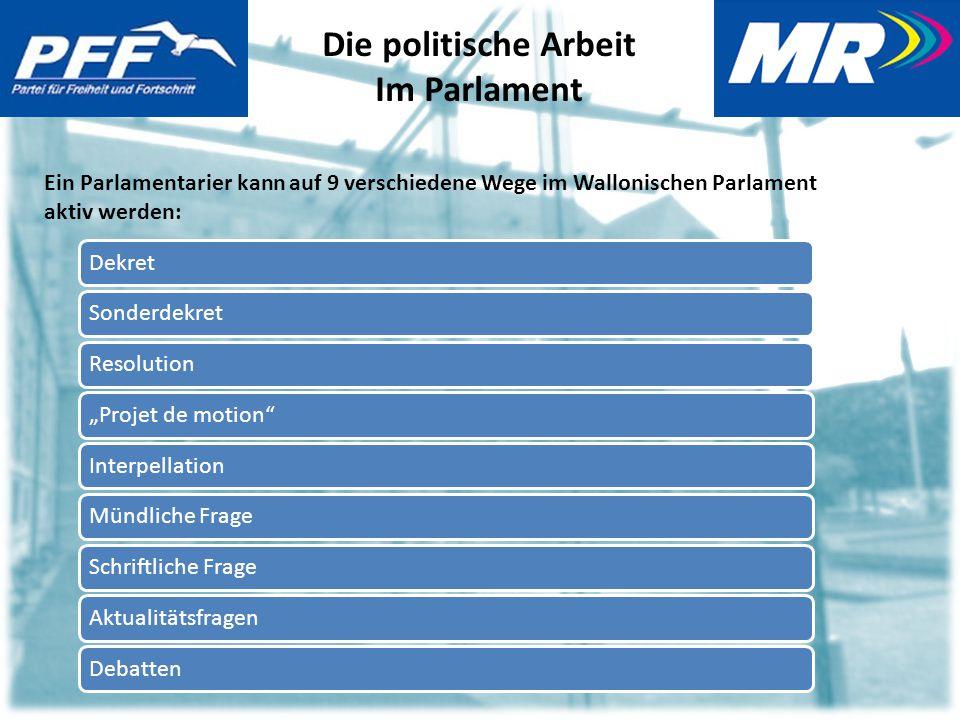 """Die politische Arbeit Im Parlament Ein Parlamentarier kann auf 9 verschiedene Wege im Wallonischen Parlament aktiv werden: DekretSonderdekretResolution""""Projet de motion InterpellationMündliche FrageSchriftliche FrageAktualitätsfragenDebatten"""