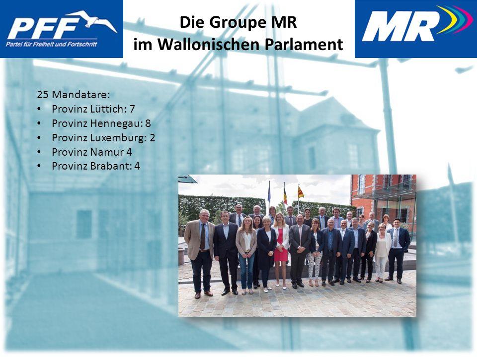 Die Groupe MR im Wallonischen Parlament 25 Mandatare: Provinz Lüttich: 7 Provinz Hennegau: 8 Provinz Luxemburg: 2 Provinz Namur 4 Provinz Brabant: 4