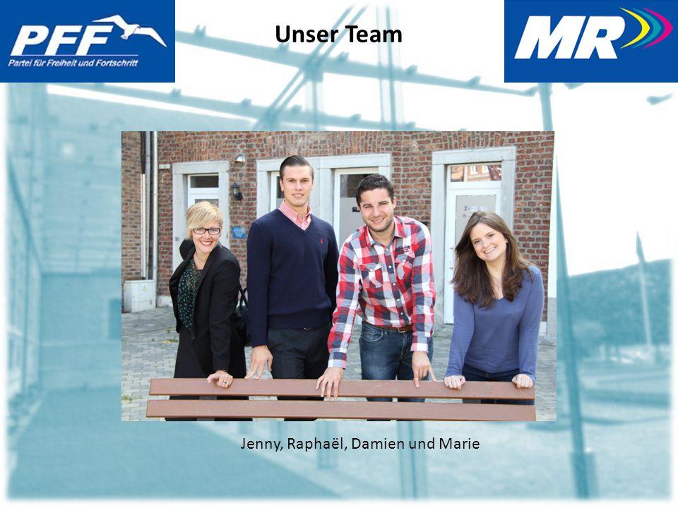 Unser Team Jenny, Raphaël, Damien und Marie