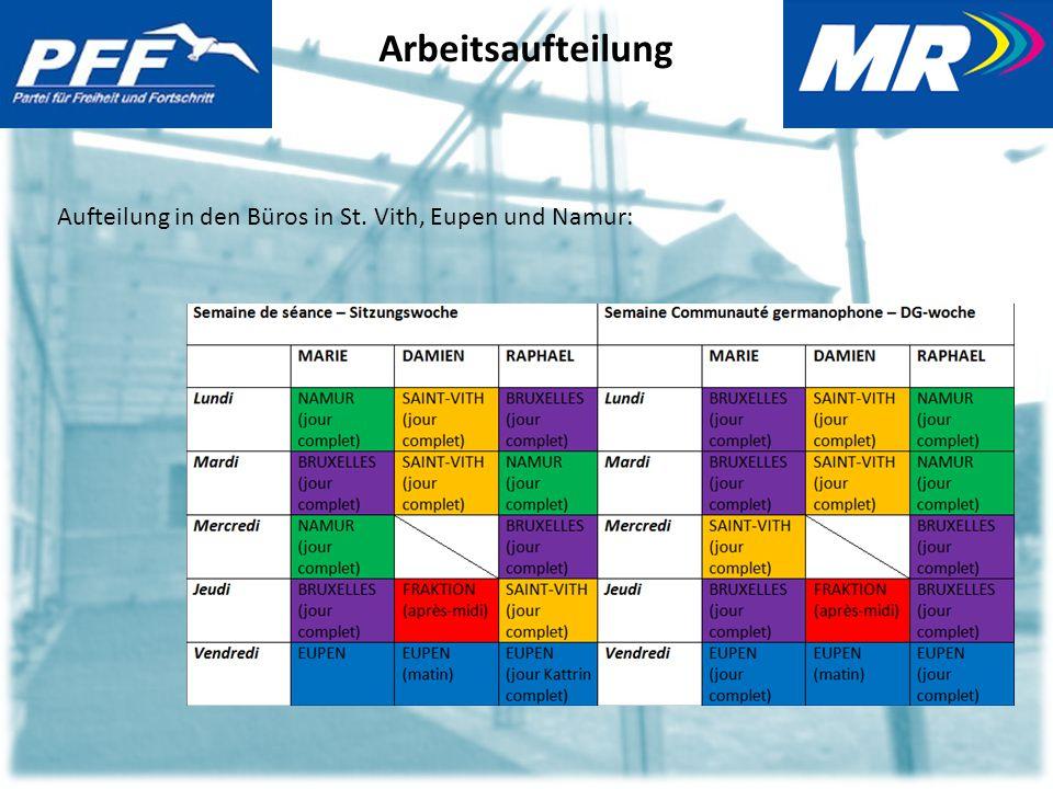 Arbeitsaufteilung Aufteilung in den Büros in St. Vith, Eupen und Namur: