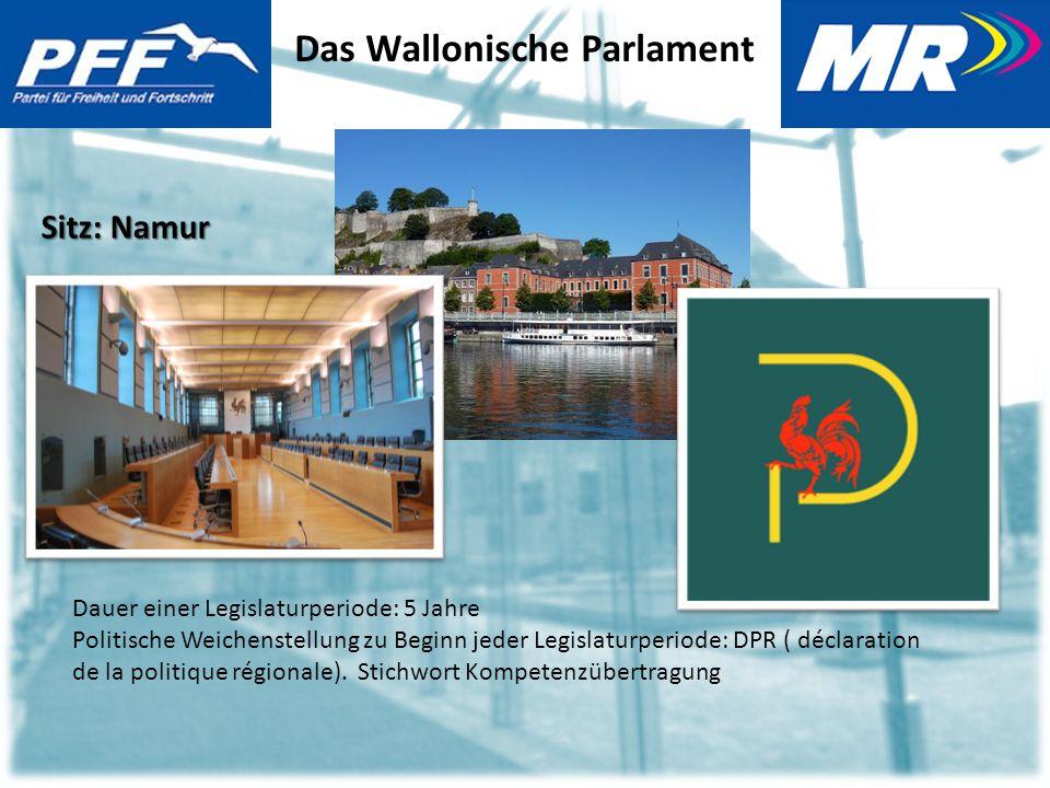 Das Wallonische Parlament Sitz: Namur Dauer einer Legislaturperiode: 5 Jahre Politische Weichenstellung zu Beginn jeder Legislaturperiode: DPR ( déclaration de la politique régionale).
