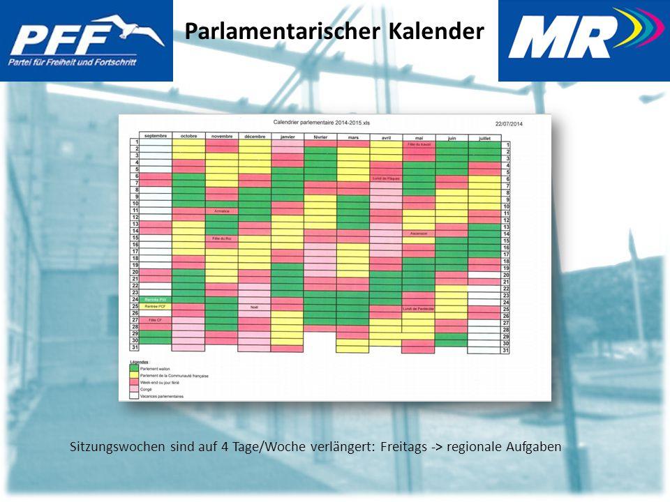 Parlamentarischer Kalender Sitzungswochen sind auf 4 Tage/Woche verlängert: Freitags -> regionale Aufgaben