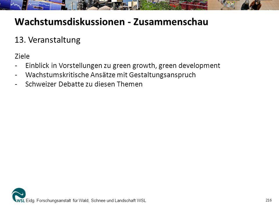 Wachstumsdiskussionen - Zusammenschau Eidg.
