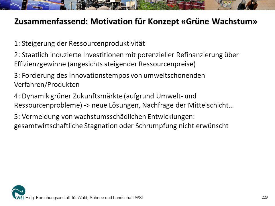 Zusammenfassend: Motivation für Konzept «Grüne Wachstum» Eidg.