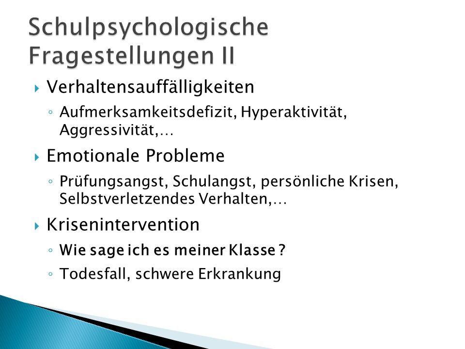  Verhaltensauffälligkeiten ◦ Aufmerksamkeitsdefizit, Hyperaktivität, Aggressivität,…  Emotionale Probleme ◦ Prüfungsangst, Schulangst, persönliche Krisen, Selbstverletzendes Verhalten,…  Krisenintervention ◦ Wie sage ich es meiner Klasse .