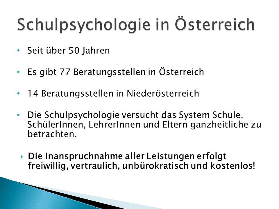 Seit über 50 Jahren Es gibt 77 Beratungsstellen in Österreich 14 Beratungsstellen in Niederösterreich Die Schulpsychologie versucht das System Schule, SchülerInnen, LehrerInnen und Eltern ganzheitliche zu betrachten.
