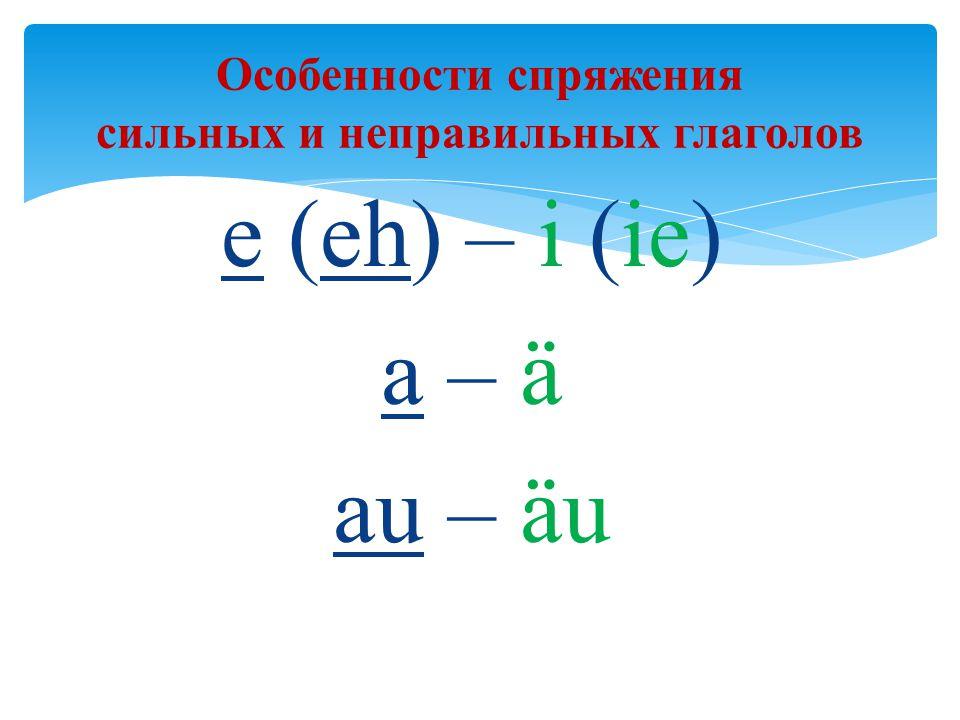 Особенности спряжения сильных и неправильных глаголов e (eh) – i (ie) a – ä au – äu