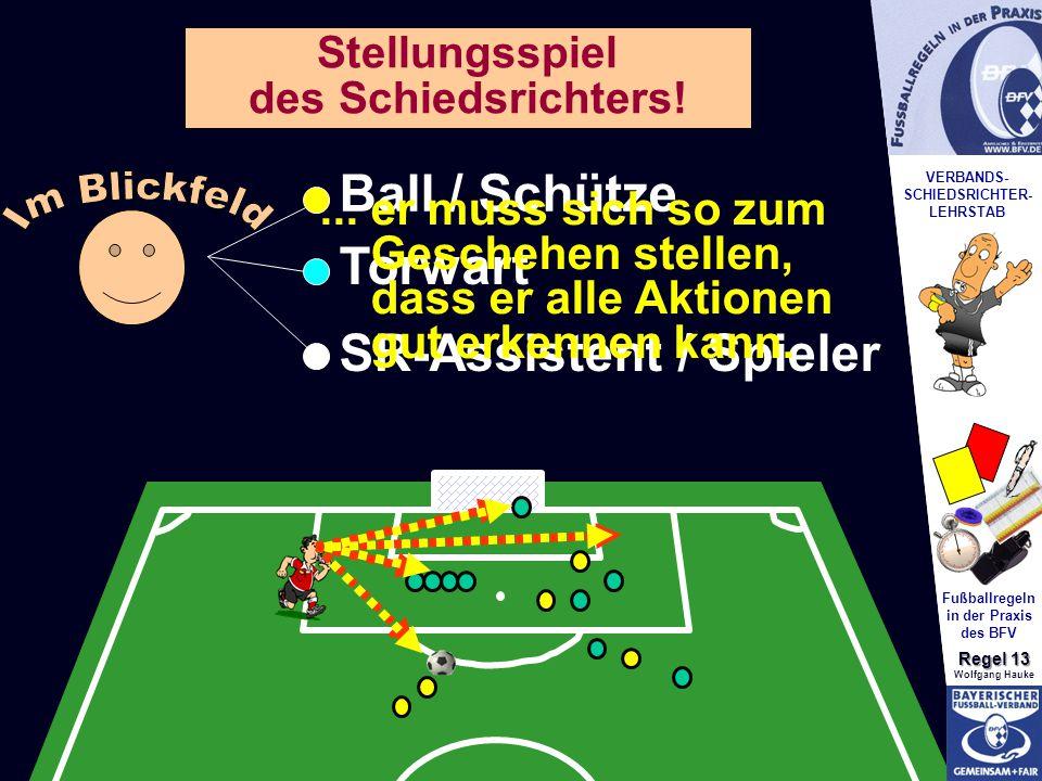 VERBANDS- SCHIEDSRICHTER- LEHRSTAB Fußballregeln in der Praxis des BFV Regel 13 Wolfgang Hauke Stellungsspiel des Schiedsrichters.