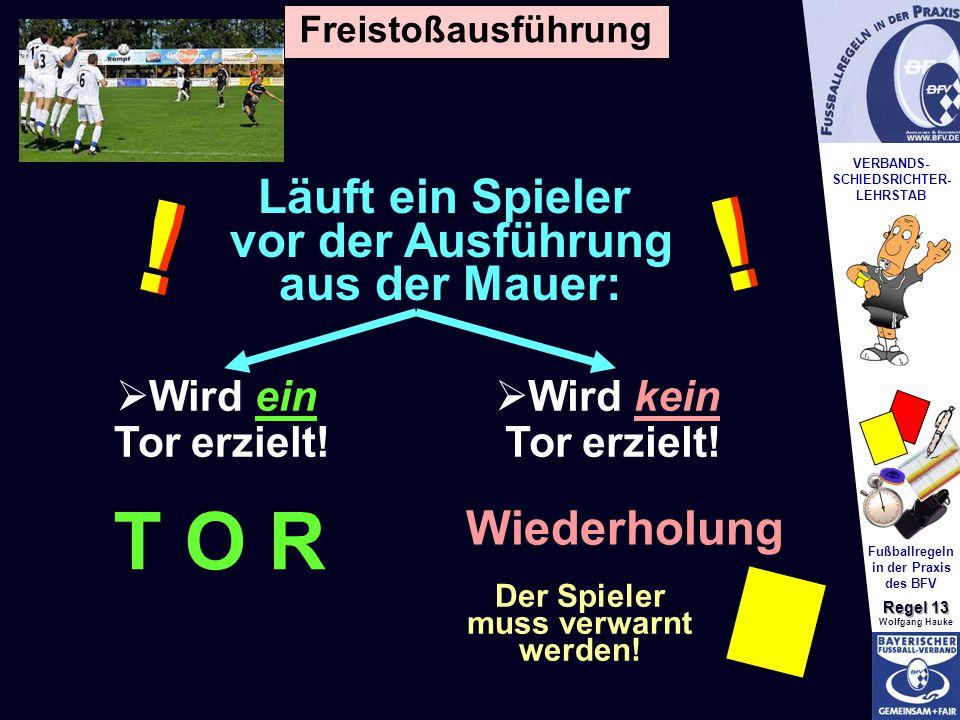 VERBANDS- SCHIEDSRICHTER- LEHRSTAB Fußballregeln in der Praxis des BFV Regel 13 Wolfgang Hauke Läuft ein Spieler vor der Ausführung aus der Mauer: .