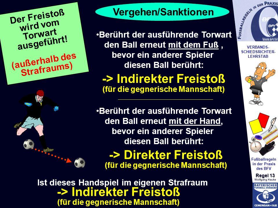 VERBANDS- SCHIEDSRICHTER- LEHRSTAB Fußballregeln in der Praxis des BFV Regel 13 Wolfgang Hauke 1 Berührt der ausführende Torwart den Ball erneut mit dem Fuß, bevor ein anderer Spieler diesen Ball berührt: -> Indirekter Freistoß (für die gegnerische Mannschaft) Berührt der ausführende Torwart den Ball erneut mit der Hand, bevor ein anderer Spieler diesen Ball berührt: Ist dieses Handspiel im eigenen Strafraum -> Direkter Freistoß (für die gegnerische Mannschaft) -> Indirekter Freistoß (für die gegnerische Mannschaft) Der Freistoß wird vom Torwart ausgeführt.